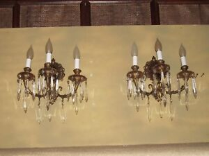 2 3lt Bronze Sconces 9hx12w Antique Sconces 25 Crys Ea Collectible Sconces Exc