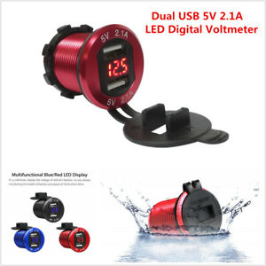 Waterproof Dual Usb Charger Cigarette Lighter Power Socket Led Digital Voltmeter