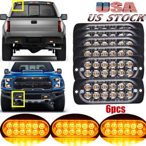 6x Amber 12 Led Car Truck Emergency Beacon Warning Hazard Flash Strobe Light Bar