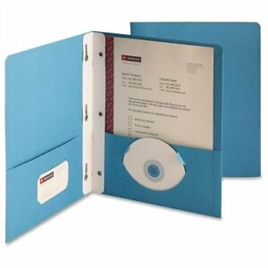 Smead 88052 Blue Two pocket Heavyweight Folders With Tang Strip Style Fastener