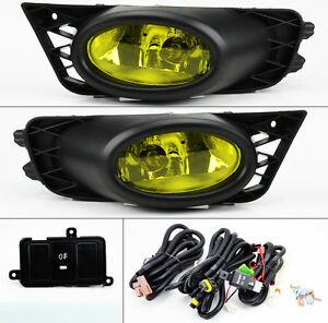 Jdm Yellow Amber Front Fog Lights Pair Rh Lh Wiring For Honda Civic 09 11 4dr