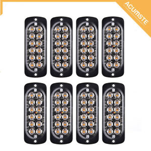 8x Amber 12led Bar Car Truck Strobe Flash Emergency Warning Light Lamp 12v 24v