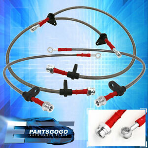 92 95 Civic Eg Front Rear Stainless Steel Hose Oil Brake Line Cable Red Cap