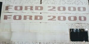 Red Ford 2000 Tractor Hood Decal Set With 4 Speed Shift Diagram