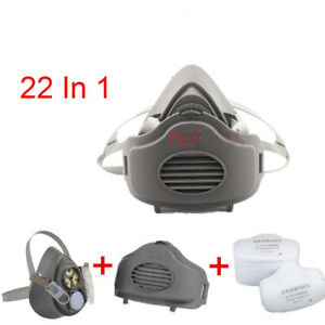 10 Set 22 In 1 Half Face Gas Mask Dust Painting Spraying 3200 Filter Respirator