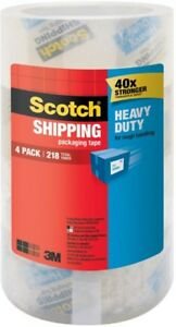 Scotch Shipping Packaging Tape 1 88 In X 54 6 Yds Clear 4 pack case Of 4