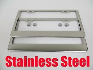 2pcs Plain Blank Stainless Steel License Plate Frame Front Rear Bmw2c