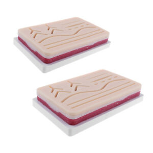 2pcs Medical Suture Training Kits Human Traumatic Skin Suture Practice Pads