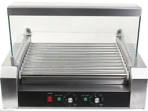 Us Roller Commercial 30 Hotdog Hot Dog 11 Roller Grill Cooker Machine W cover