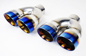 Dual 4 0 Quad Burn Stainless Steel Exhaust Tips Fits Chevy Corvette C6 05 13