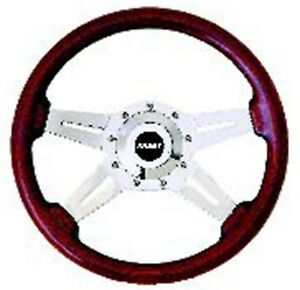 Grant 1071 Steering Wheel With Polished Aluminum Spokes Mahogany Wood Grip 14