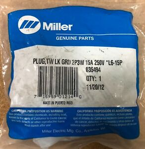 Miller 035494 Plug twist Lock Ground 2p 3w 15 Amp 250 Volt l6 15p