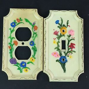 Vintage Floral Light Switch Plate Outlet Covers American Tack Howe 1967 Flower