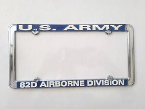 Us Army 82d Airborne Division Thin Rim Raised Letters Chrome License Plate Frame