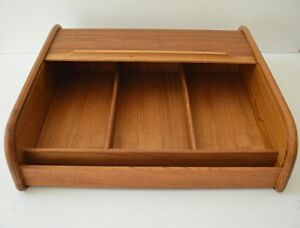 Vtg Eppco Teak Wood Roll Top Divided Storage Cabinet Desk Organizer Cassettes