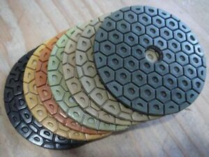 7 Inch Diamond Polishing Pads 4 Piece grit 50 100 Terrazzo Granite Concrete