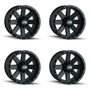 Set 4 17 Ion 134 Black Beadlock Wheels 17x8 5 5x5 6mm Jeep Chevy Gmc 5 Lug Rims