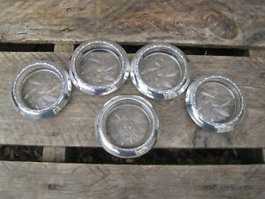 5 Sterling Silver Glass Coasters Amston 144 Frank Whiting B9341