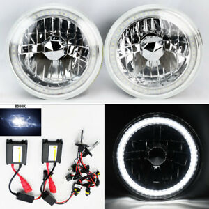 7 Round 8k Hid Xenon H4 Clear Smd Led Drl Glass Headlight Conversion Pair Ford