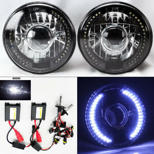 7 Round 6k Hid Xenon H4 Bk cm Projector Led Drl Glass Headlight Conversion Ply