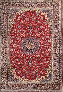 Exceptional Vintage Floral Red 10x14 Najafabad Isfahan Persian Oriental Area Rug