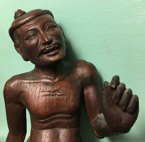 Asian China Japan Netsuke Okimono Wood Carving Statue Meiji Edo Qing