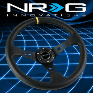 Nrg Performance 350mm 3 deep Dish Black Leather Yellow Stripe Steering Wheel