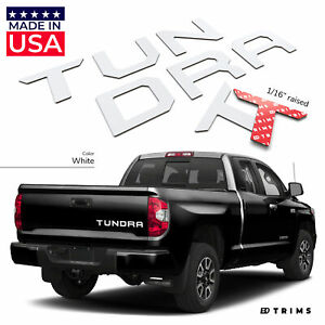 White Raised Plastic Letters Inserts For Toyota Tundra 2014 2020 Tailgate