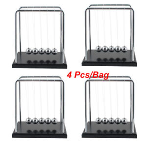 4 Pcs Newtons Cradle Fun Steel Balance Balls Physics Science Pendulum Desk Toy