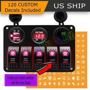 5 Gang Red On off Toggle Switch Panel 2usb 12v Car Boat Marine Rv Truck Camper
