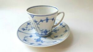 Porsgrund Tea Cup And Saucer Blue And White Hand Painted
