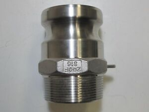 250 Psi Stainless Steel 2 Male Adapter X 2 Npt Type F Male Camlock Adapter New
