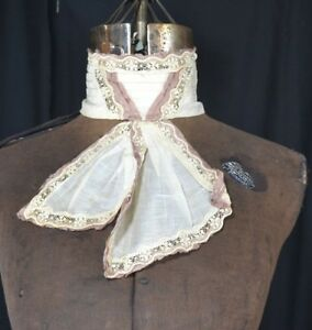 Collar Lace Stand Up Victorian Edwardian White Antique Original