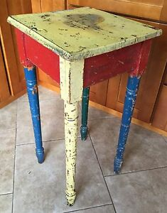 Primitive Painted Oak Stand Side Table Circus Colors Industrial