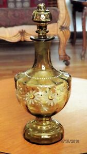 Victorian Enamel Painted Bottle W Stopper Decanter Cruet