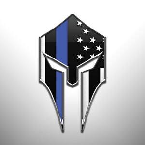 Thin Blue Line Flag Spartan Helmet Vinyl Sticker Firefighters Police Military
