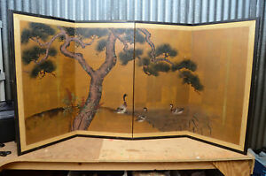 Vintage Japanese Chinese 4 Panel Folding Screen Byobu Painted 73x36 Gold Asian