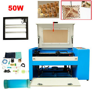 50w Co2 Laser Engraving Cutting Machine Engraver 110v Usb Cutter Rotary Device