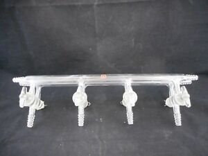 Aldrich Glass 400mm Dual Bank Manifold W Stopcocks 4mm Bore 4 Positions Z202703