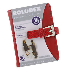 Rolodex Personal Business Card Case Holder 36 Card Capacity Red 68234