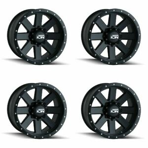 Set 4 18 Ion 134 Black Beadlock Rims 18x9 5x5 0mm Jeep Wrangler Chevy Gmc 5 Lug