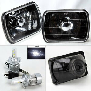 7x6 Black Chrome Glass Headlight Conversion W 6000k 36w Led H4 Bulbs Pair Plym