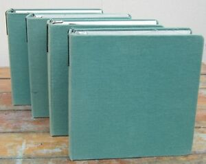 Lot Of 4 Vintage Canvas green Cloth 3 ring Binders 2 Round Rings Excellent