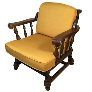 Vintage Ethan Allen Pine Wooden Lounge Chair W Cushions American Traditional
