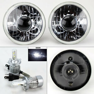 7 Round Clear Glass Projector Headlight Conversion W 6k 36w Led H4 Bulbs Pair