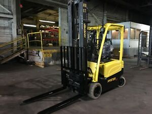 2012 Hyster Electric Forklift Solid Pneumatic With Side Shift Triple Mast 240in
