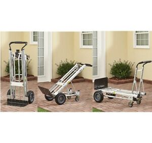 Convertible Hand Truck Heavy Duty Cart Moving Dolly With Flat Free Wheels 3 In 1