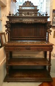 Antique French Breton King Henry Server Buffet Side Board Wood
