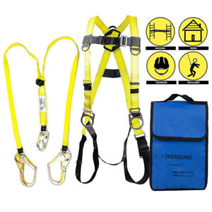 3 D ring Full Body Fall Protection Safety Harness 2 Rebar Hooks Lanyard yellow