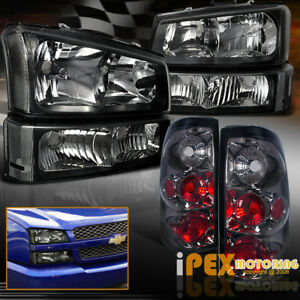 Black 2003 2006 Chevy Silverado 1500 2500 Headlights Signal Smoke Tail Light
